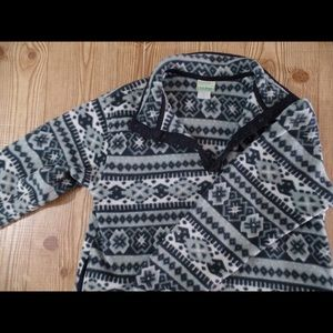 L.L. Bean fleece with print  black and gray/blue